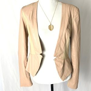 Ark & Co Tan Cropped Leather and Mesh Jacket M